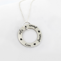 Circle Names and Hearts Necklace