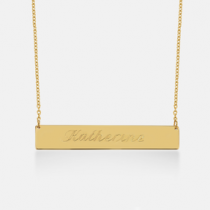 Script Engraved Bar Necklace